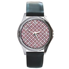 Woven2 White Marble & Red Wood (r) Round Metal Watch by trendistuff