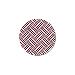 Woven2 White Marble & Red Wood (r) Golf Ball Marker by trendistuff