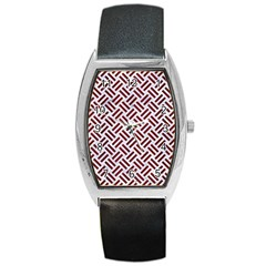 Woven2 White Marble & Red Wood (r) Barrel Style Metal Watch by trendistuff