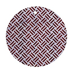 Woven2 White Marble & Red Wood (r) Round Ornament (two Sides) by trendistuff