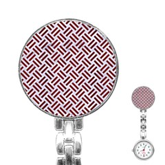 Woven2 White Marble & Red Wood (r) Stainless Steel Nurses Watch by trendistuff