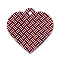 Woven2 White Marble & Red Wood Dog Tag Heart (one Side) by trendistuff