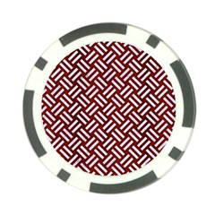 Woven2 White Marble & Red Wood Poker Chip Card Guard by trendistuff