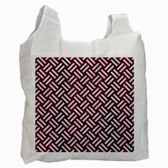 Woven2 White Marble & Red Wood Recycle Bag (two Side)  by trendistuff