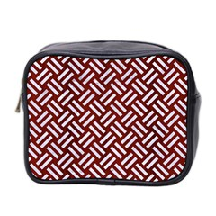Woven2 White Marble & Red Wood Mini Toiletries Bag 2 Side by trendistuff