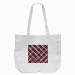 Woven2 White Marble & Red Wood Tote Bag (white) by trendistuff