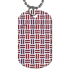Woven1 White Marble & Red Wood (r) Dog Tag (two Sides) by trendistuff