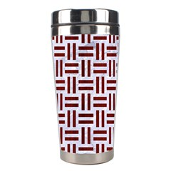 Woven1 White Marble & Red Wood (r) Stainless Steel Travel Tumblers by trendistuff