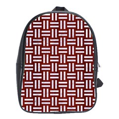 Woven1 White Marble & Red Wood School Bag (large) by trendistuff
