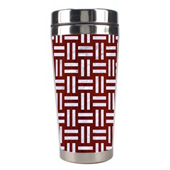 Woven1 White Marble & Red Wood Stainless Steel Travel Tumblers by trendistuff