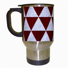 Triangle3 White Marble & Red Wood Travel Mugs (white) by trendistuff