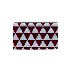 Triangle3 White Marble & Red Wood Cosmetic Bag (small)  by trendistuff