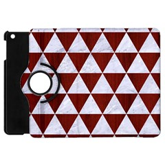 Triangle3 White Marble & Red Wood Apple Ipad Mini Flip 360 Case by trendistuff
