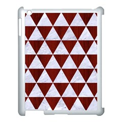 Triangle3 White Marble & Red Wood Apple Ipad 3/4 Case (white) by trendistuff