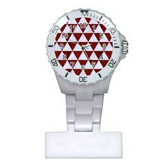Triangle3 White Marble & Red Wood Plastic Nurses Watch by trendistuff