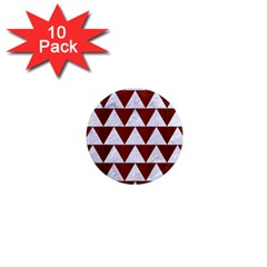 Triangle2 White Marble & Red Wood 1  Mini Magnet (10 Pack)  by trendistuff