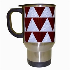 Triangle2 White Marble & Red Wood Travel Mugs (white) by trendistuff