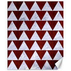 Triangle2 White Marble & Red Wood Canvas 16  X 20   by trendistuff