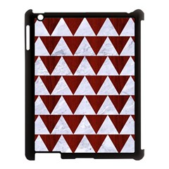 Triangle2 White Marble & Red Wood Apple Ipad 3/4 Case (black) by trendistuff