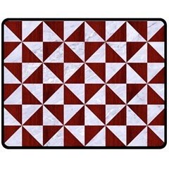 Triangle1 White Marble & Red Wood Double Sided Fleece Blanket (medium)  by trendistuff
