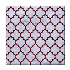 Tile1 White Marble & Red Wood (r) Tile Coasters by trendistuff