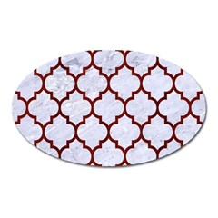 Tile1 White Marble & Red Wood (r) Oval Magnet