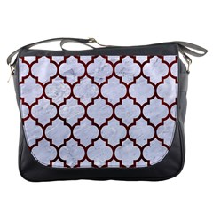 Tile1 White Marble & Red Wood (r) Messenger Bags by trendistuff