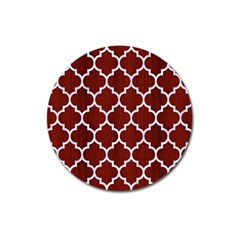Tile1 White Marble & Red Wood Magnet 3  (round) by trendistuff