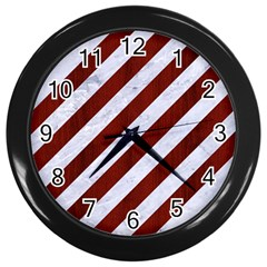 Stripes3 White Marble & Red Wood (r) Wall Clocks (black) by trendistuff