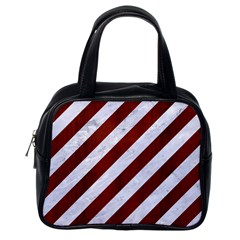 Stripes3 White Marble & Red Wood (r) Classic Handbags (one Side)