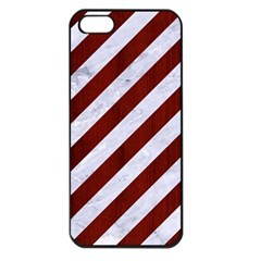 Stripes3 White Marble & Red Wood (r) Apple Iphone 5 Seamless Case (black) by trendistuff