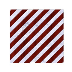 Stripes3 White Marble & Red Wood (r) Small Satin Scarf (square) by trendistuff