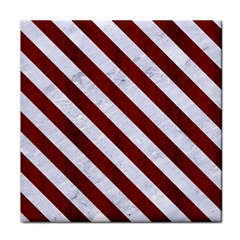 Stripes3 White Marble & Red Wood Tile Coasters by trendistuff