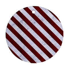 Stripes3 White Marble & Red Wood Ornament (round) by trendistuff