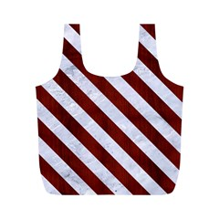 Stripes3 White Marble & Red Wood Full Print Recycle Bags (m)  by trendistuff