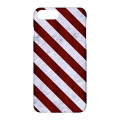 Stripes3 White Marble & Red Wood Apple Iphone 8 Plus Hardshell Case by trendistuff