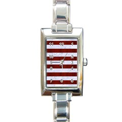 Stripes2white Marble & Red Wood Rectangle Italian Charm Watch by trendistuff