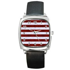 Stripes2white Marble & Red Wood Square Metal Watch