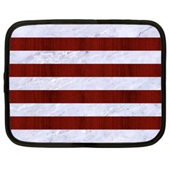 Stripes2white Marble & Red Wood Netbook Case (xxl)  by trendistuff