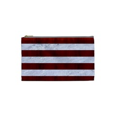 Stripes2white Marble & Red Wood Cosmetic Bag (small)  by trendistuff
