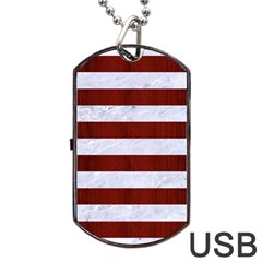 Stripes2white Marble & Red Wood Dog Tag Usb Flash (one Side) by trendistuff
