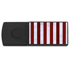 Stripes1 White Marble & Red Wood Rectangular Usb Flash Drive by trendistuff