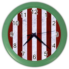 Stripes1 White Marble & Red Wood Color Wall Clocks by trendistuff