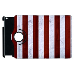 Stripes1 White Marble & Red Wood Apple Ipad 2 Flip 360 Case by trendistuff
