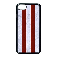 Stripes1 White Marble & Red Wood Apple Iphone 8 Seamless Case (black) by trendistuff