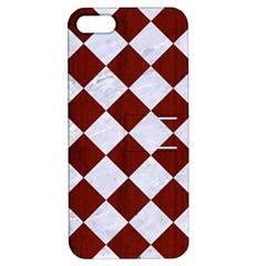 Square2 White Marble & Red Wood Apple Iphone 5 Hardshell Case With Stand by trendistuff
