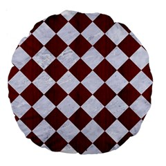 Square2 White Marble & Red Wood Large 18  Premium Flano Round Cushions by trendistuff