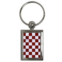 Square1 White Marble & Red Woodsquare1 White Marble & Red Wood Key Chains (rectangle)  by trendistuff