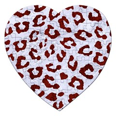 Skin5 White Marble & Red Wood Jigsaw Puzzle (heart) by trendistuff