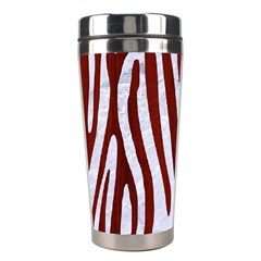 Skin4 White Marble & Red Wood Stainless Steel Travel Tumblers by trendistuff